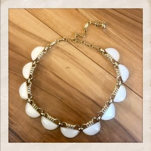 Vtg Coro White Moonglow Thermoset Necklace